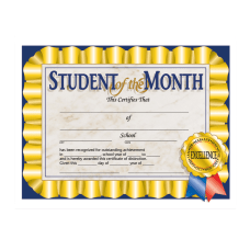 Hayes Publishing Certificates Student Of The