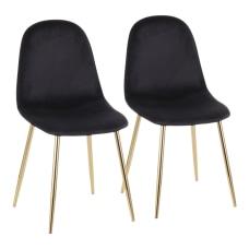 LumiSource Pebble Velvet Chairs BlackGold Set