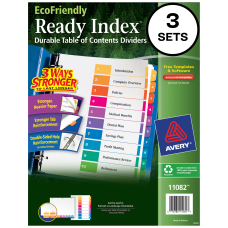 Avery EcoFriendly Ready Index 100percent Recycled