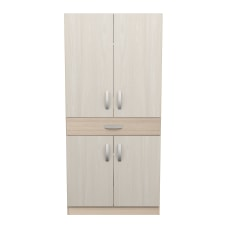 Inval Computer Cabinet Workstation BeechLaricina White