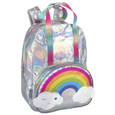 Delias Girls Backpack Holographic Silver Rainbow