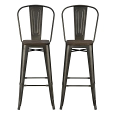 DHP Luxor Metal Bar Stools Brown