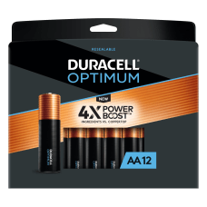 Deals on 12Pk Duracell Optimum AA Alkaline Batteries + 100% Back in Rewards