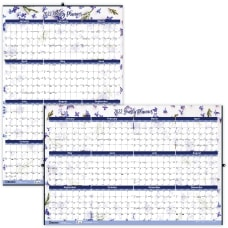 Blueline Laminated Yearly Wall Calendar 24