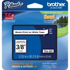 Brother TZe 221 Black On White