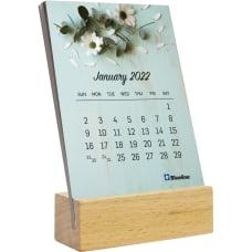 Blueline Wood Base Desk Calendar Monthly