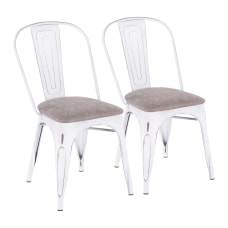 LumiSource Oregon Stackable Dining Chairs GrayWhite