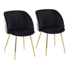LumiSource Fran Floral Chairs Floral Black