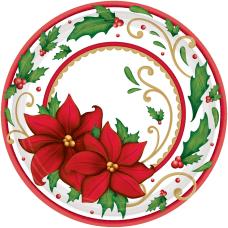 Amscan Christmas Winter Botanical Paper Plates