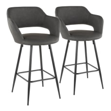 LumiSource Margarite Contemporary Counter Stools BlackGray