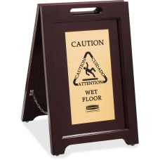 Rubbermaid Commercial BrassWooden Caution Sign Caution