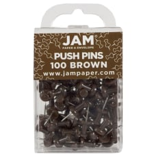 JAM Paper Pushpins 12 Brown Pack