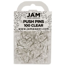 JAM Paper Pushpins 12 Clear Pack