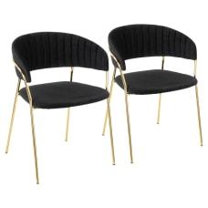 LumiSource Tania Chairs BlackGold Set Of