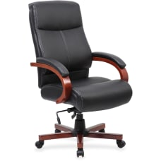 Lorell Executive Bonded LeatherWood Chair BlackCherry