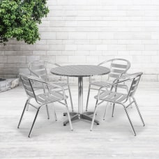Flash Furniture Round Aluminum IndoorOutdoor Table