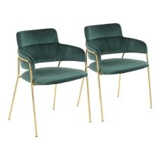 LumiSource Napoli Velvet Chairs Emerald GreenGold