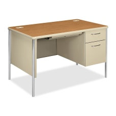 HON Mentor Right Pedestal Desk Harvest