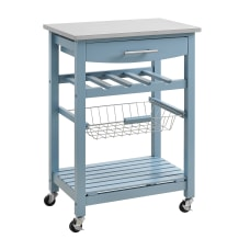 Linon Claus Wood Kitchen Cart With