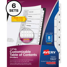 Avery Ready Index Binder Dividers Customizable