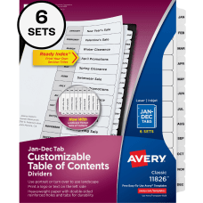 Avery Ready Index Monthly Tab Dividers