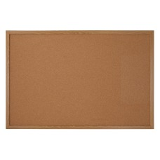 FORAY Cork Bulletin Board Oak Finish