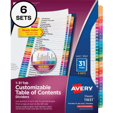 Avery Ready IndexR 31 Number Dividers