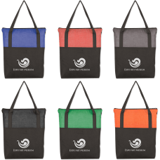 Crosshatch Poly Zippered Tote Bag