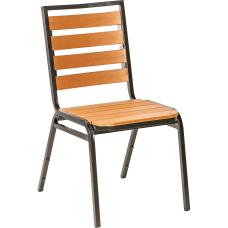 Lorell Faux Wood Outdoor Chairs TeakBlack