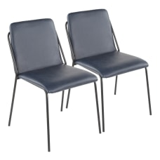 LumiSource Stefani Chairs BlueBlack Set Of
