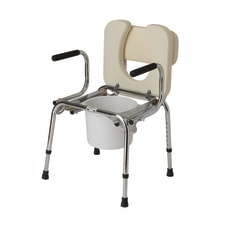 Guardian Drop Arm Padded Commode Chrome