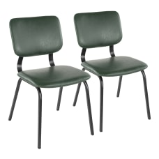 LumiSource Foundry Chairs BlackGreen Set Of