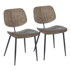 LumiSource Wilson Chairs BlackEspresso Set Of