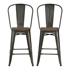 DHP Luxor Metal Counter Stool Brown