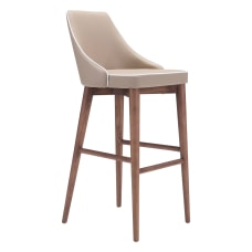 Zuo Modern Moor Bar Chair BeigeWalnut