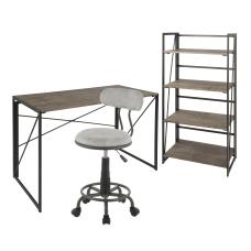 LumiSource Dakota Desk Set BlackBrownAntiqueLight Gray
