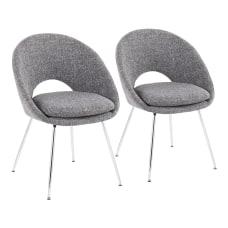 LumiSource Metro Chairs Gray NoiseChrome Set