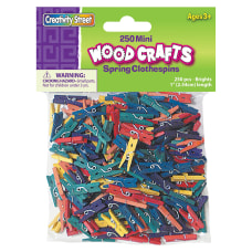 Creativity Street WoodCrafts Bright Mini Clothespins
