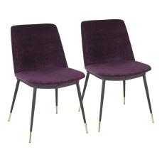 LumiSource Wanda Chairs BlackGoldPurple Set Of