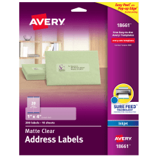 Avery Matte Clear Address Labels Sure