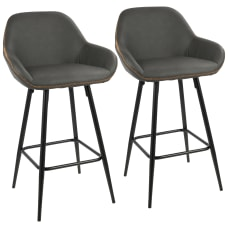 LumiSource Clubhouse Counter Stools Gray SeatBlack
