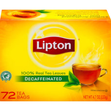 Lipton Tea Bags Decaffeinated Box Of