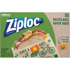 Ziploc Recyclable Paper Sandwich Bags Brown