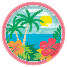 Amscan Luau Summer Vibes Paper Plates