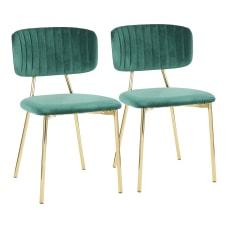 LumiSource Bouton Chairs GoldGreen Set Of