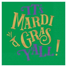 Amscan Mardi Gras Yall Beverage Napkins