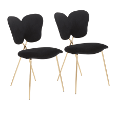 LumiSource Madeline Chairs BlackGold Set Of