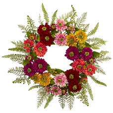 Nearly Natural Plastic Mixed Flower Wreath