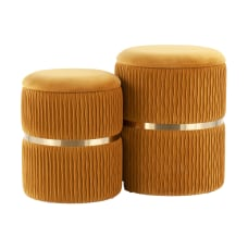 LumiSource Cinch Nesting Ottomans OrangeGold Set