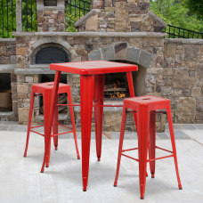 Flash Furniture Square Metal Bar Table